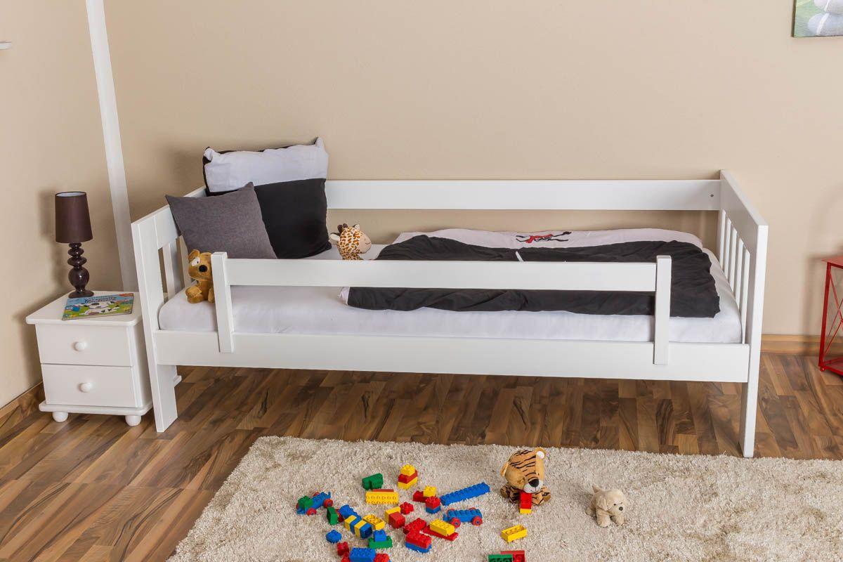 Kinderbett / Juniorbett Kiefer massiv Vollholz weiß lackiert 95, inkl. Lattenrost - 90 x 200 cm (B x L)