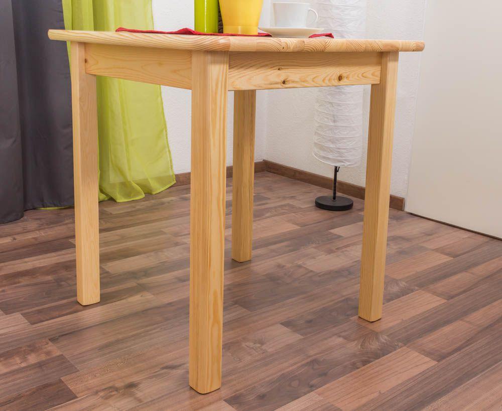 Tisch Kiefer massiv Vollholz natur 002 (eckig) - Abmessung 70 x 70 cm (B x T)