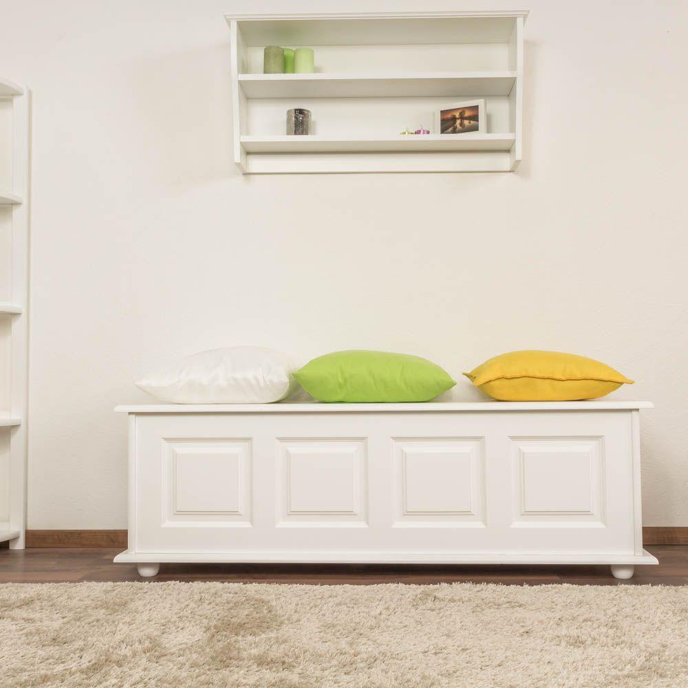 Sitzbank mit Stauraum Kiefer massiv Vollholz weiß lackiert 179 – 50 x 154 x 46 cm (H x B x T)
