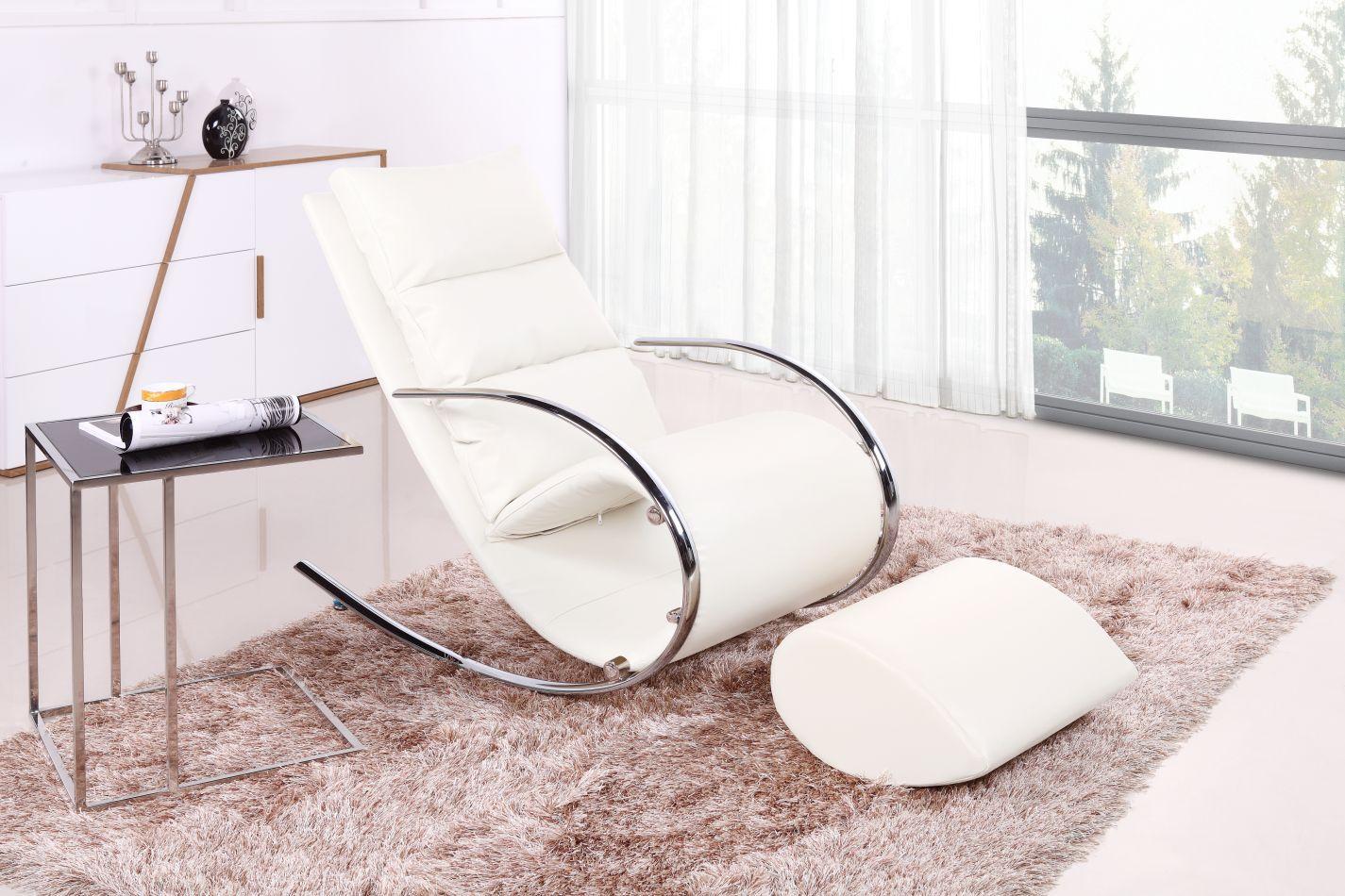 Schaukelstuhl mit Hocker Luanda 28, Farbe: Weiß - Abmessungen: 111 x 67 x 102 cm (H x B x T)