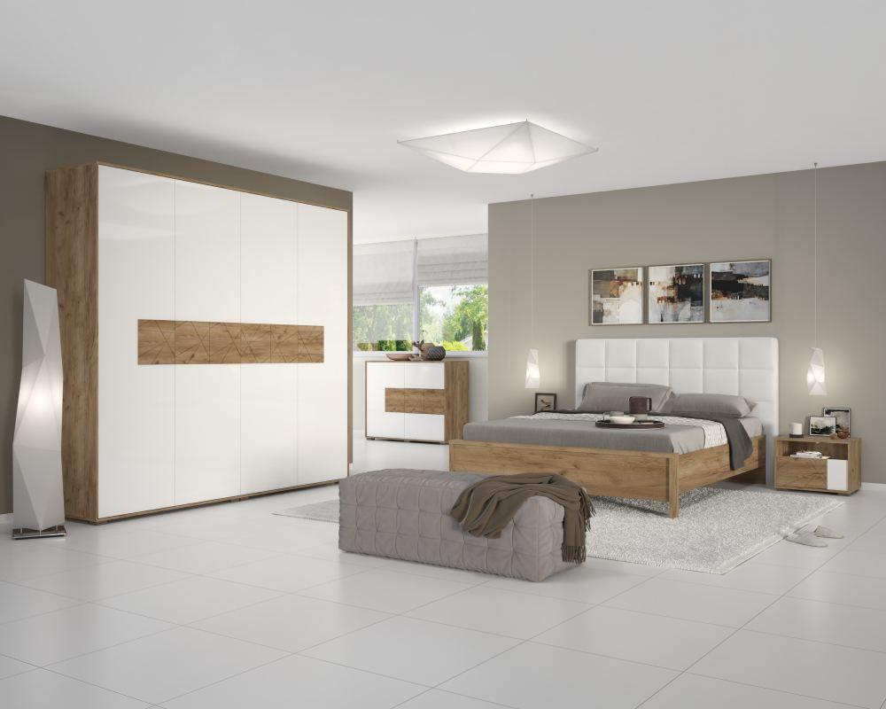 Schlafzimmer Komplett - Set A Manase, 5-teilig, Farbe: Eiche Braun / Weiß Hochglanz
