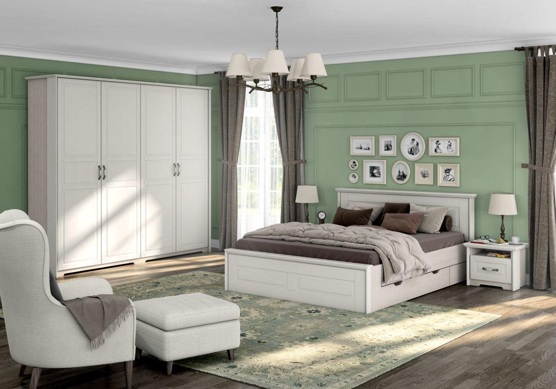 Schlafzimmer Komplett - Set B Falefa, 5-teilig, Farbe: Elfenbein