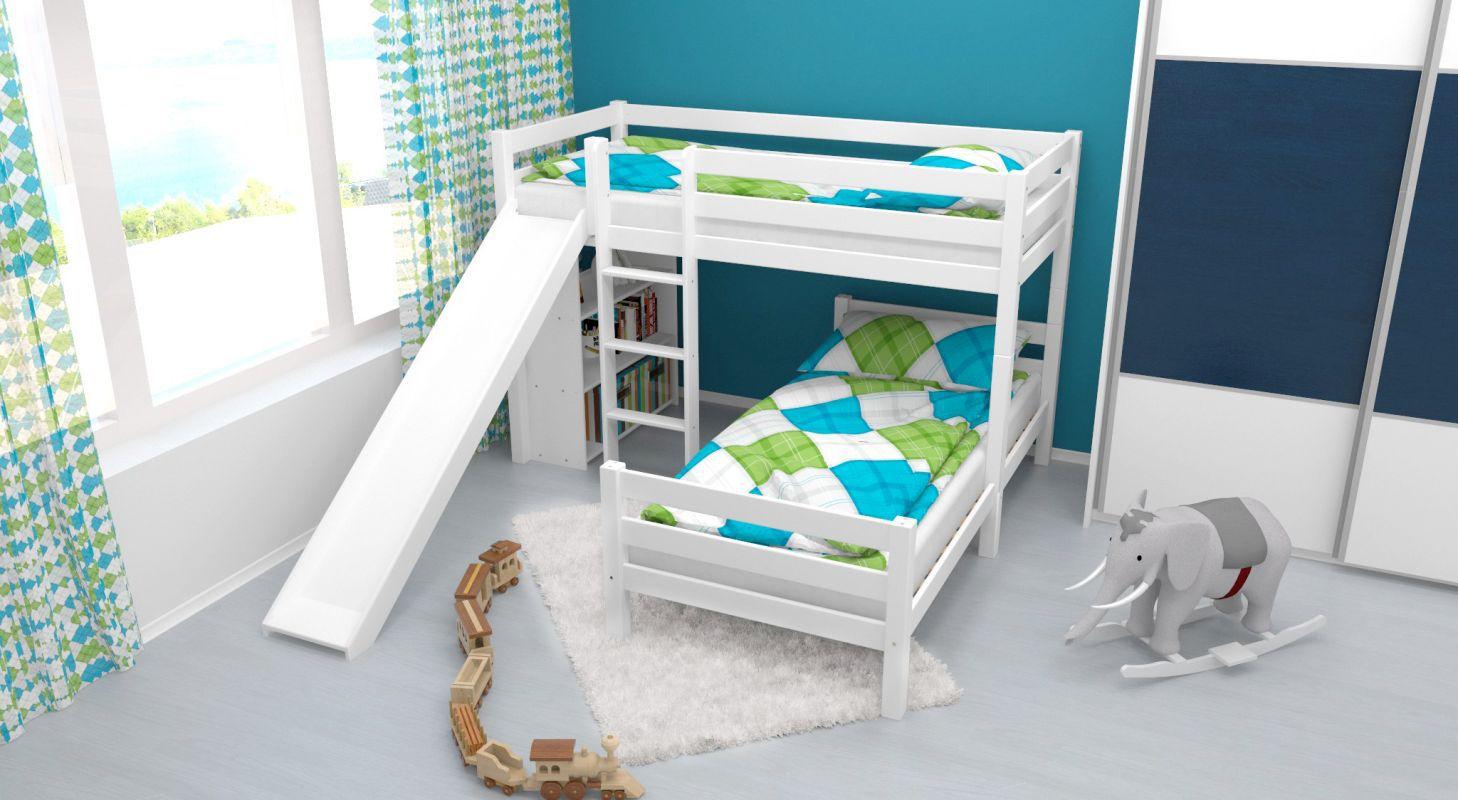 Etagenbett / Spielbett Phillip Buche massiv weiß lackiert mit Rutsche und Regal inkl. Rollrost - 90 x 200 cm, teilbar