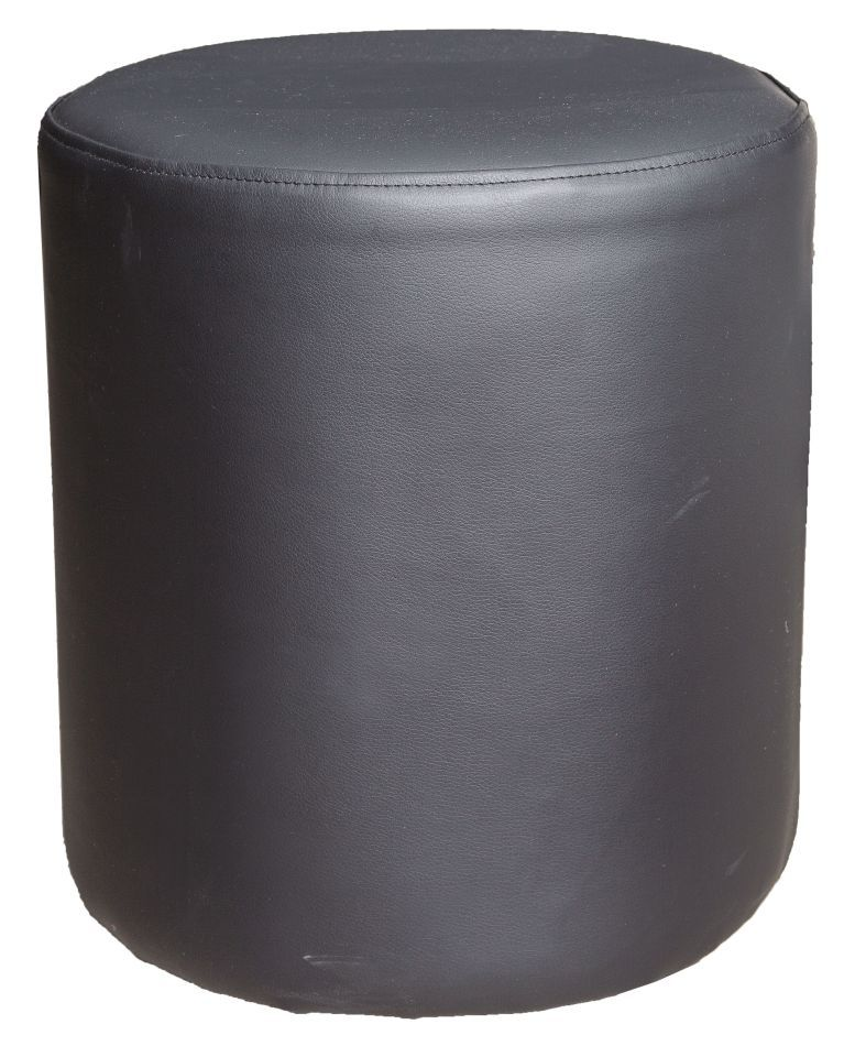 Hocker / Pouf Bassila 02, Farbe: Schwarz - Abmessungen: 40 x 38 x 38 cm (H x B x T)