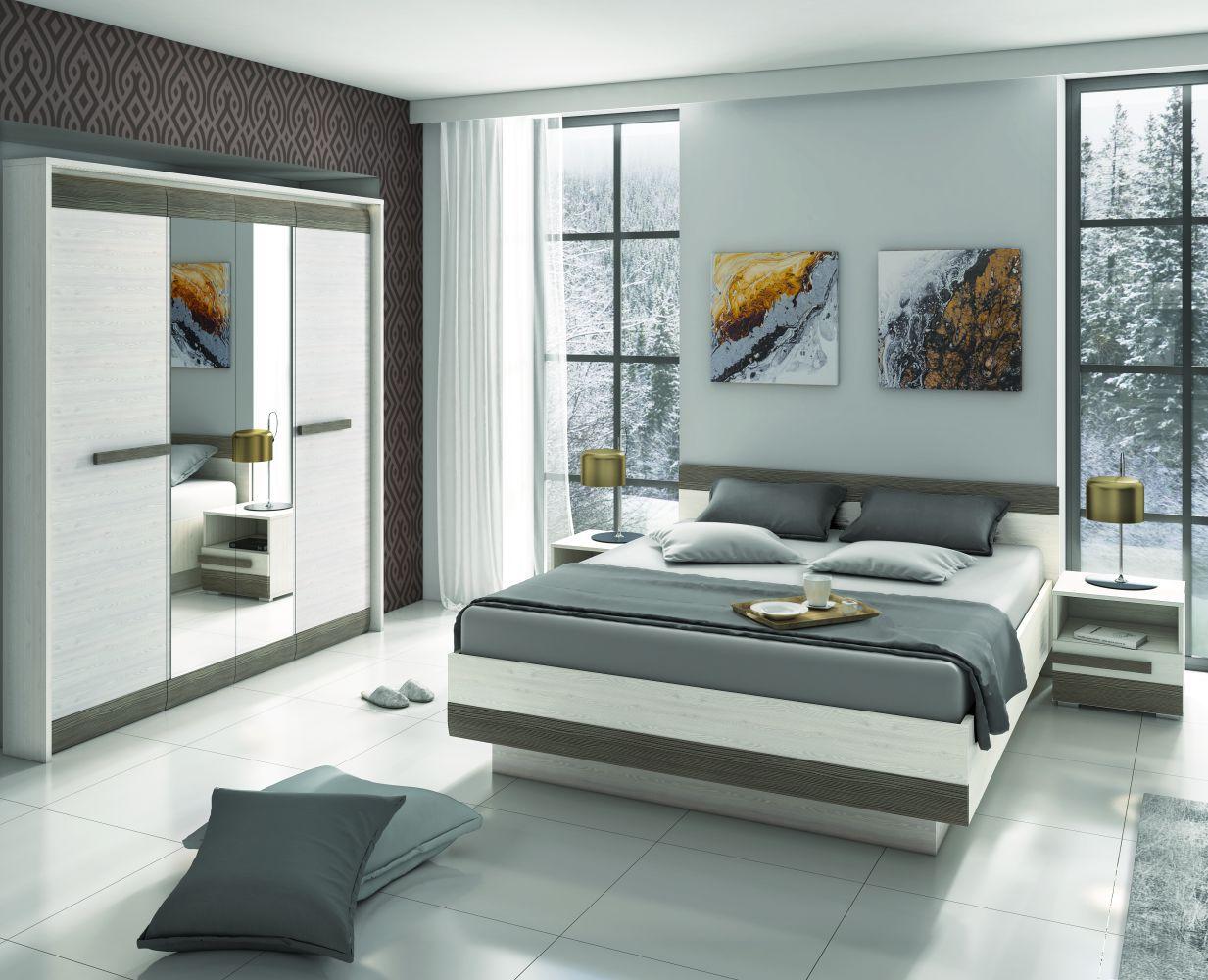 Schlafzimmer Komplett - Set G Knoxville, 4-teilig, Farbe: Kiefer Weiß / Grau