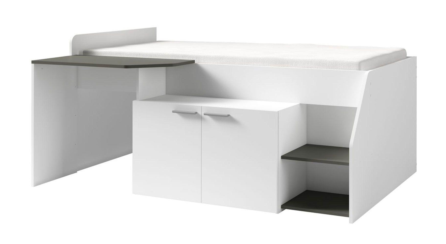 Funktionsbett / Kinderbett / Hochbett mit Schreibtisch Lindos, Farbe: Weiß / Grau - Liegefläche: 90 x 200 cm (B x L)