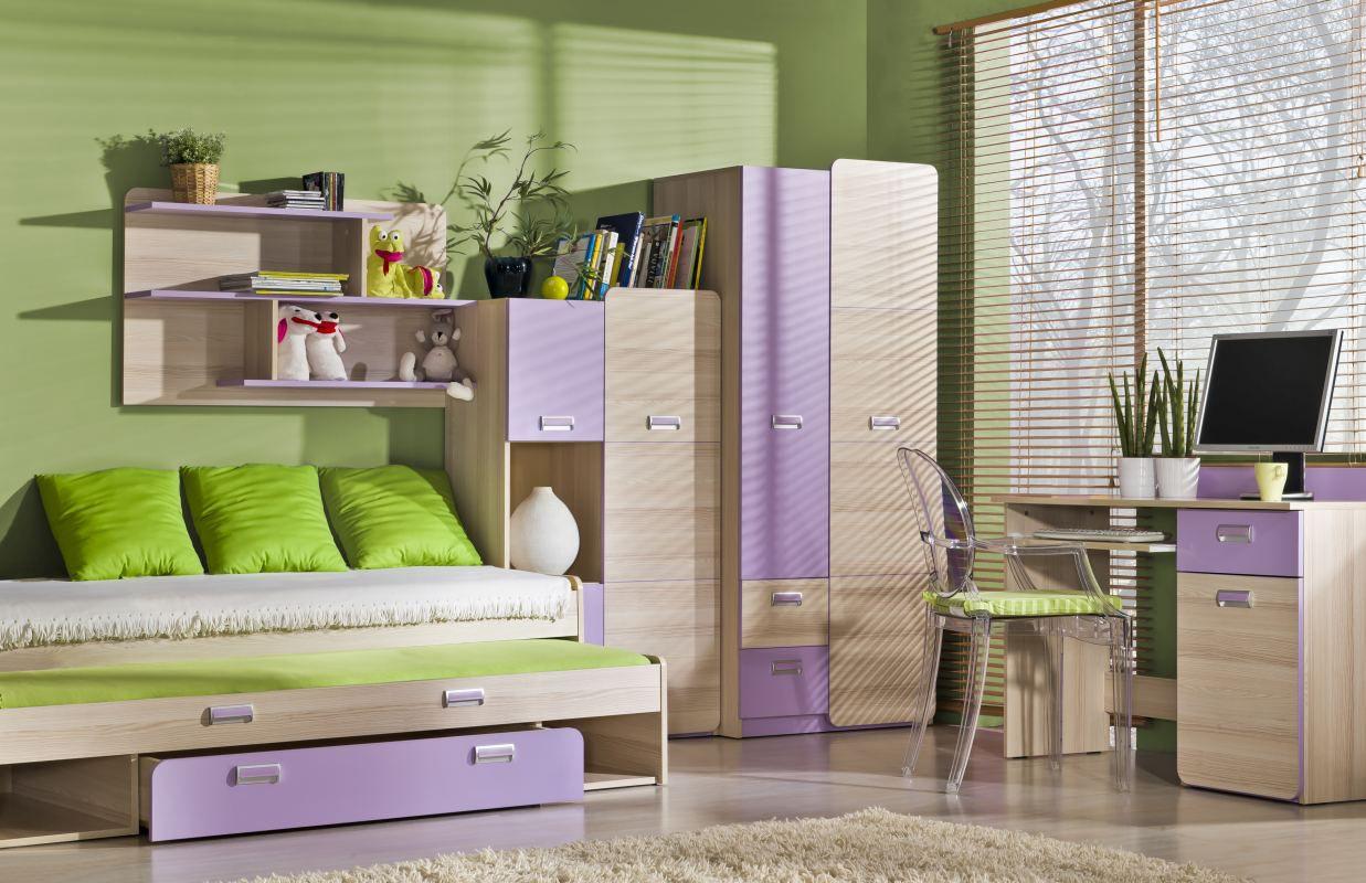 Jugendzimmer Komplett - Set E Dennis, 5-teilig, Farbe: Esche Lila