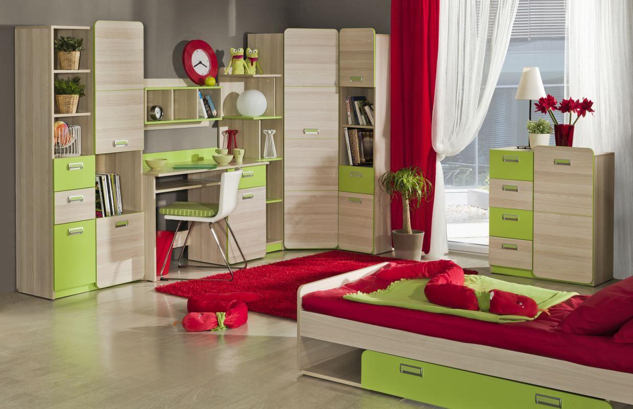 Jugendzimmer Komplett - Set F Dennis, 8-teilig, Farbe: Esche Grün
