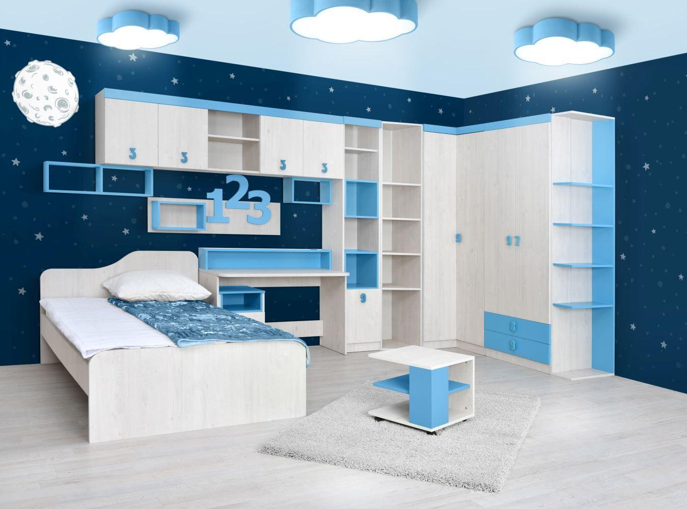 Kinderzimmer Komplett - Set A Luis, 13-teilig, Farbe: Eiche Weiß / Blau
