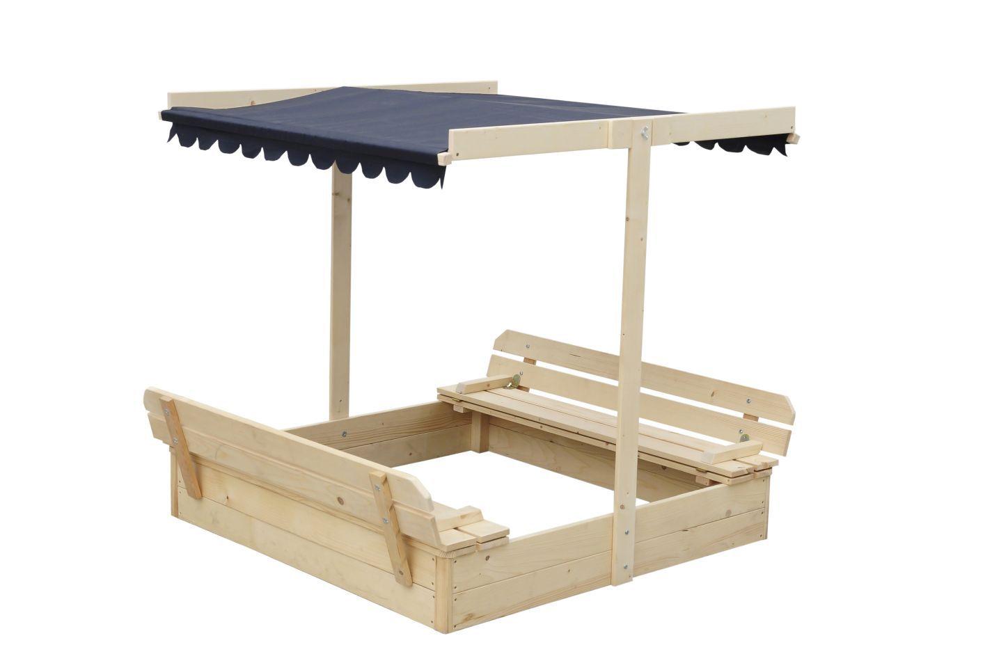 Blockbohlen Sandkasten Willi mit Dachkonstruktion und Abdeckung - H32xL118xB118