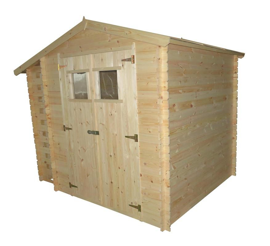 Holzhütte Velden - 2,56 x 2,00 Meter aus 19mm Blockbohlen mit Kaminholzunterstand