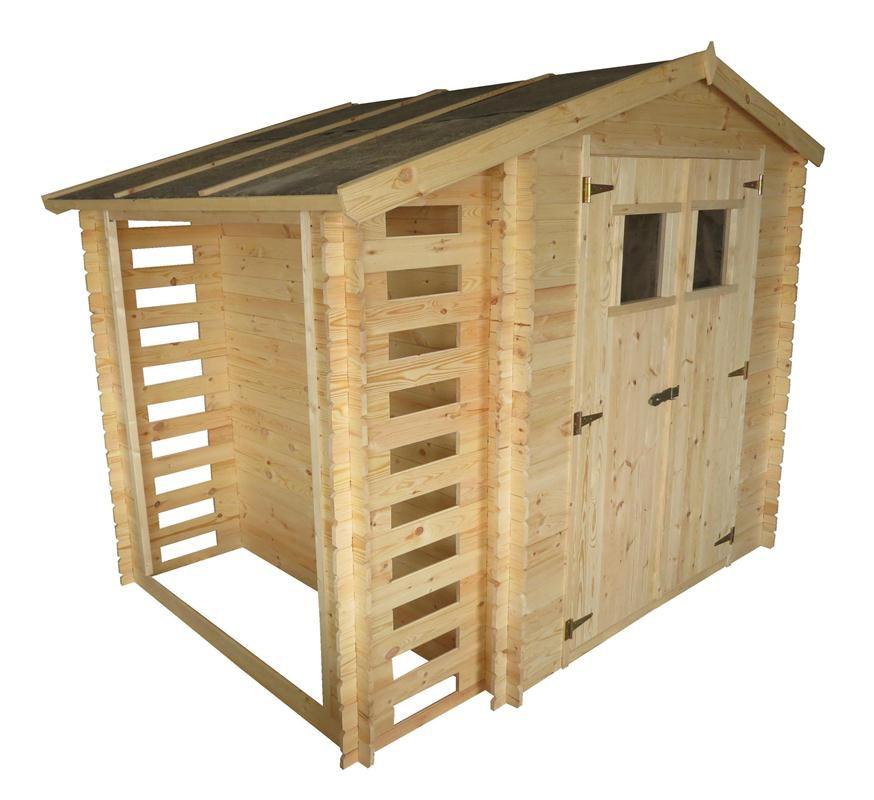 Gerätehütte Velden - 2,56 x 2,00 Meter aus 19mm Blockbohlen mit Kaminholzunterstand