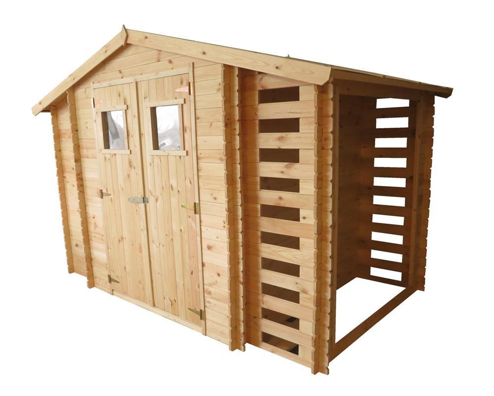 Holzhütte Eisenstadt - 3,12 x 2,00 Meter aus 19mm Blockbohlen inkl extra Lagerraum und Kaminholzunterstand