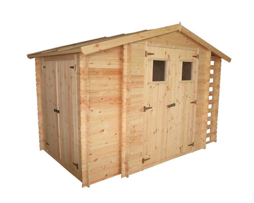 Gartenhütte Holz Eisenstadt - 3,12 x 2,00 Meter aus 19mm Blockbohlen inkl extra Lagerraum und Kaminholzunterstand