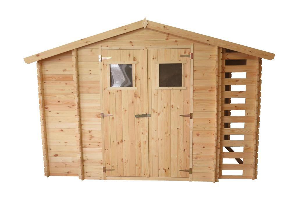 Gerätehaus Eisenstadt - 3,12 x 2,00 Meter aus 19mm Blockbohlen inkl extra Lagerraum und Kaminholzunterstand