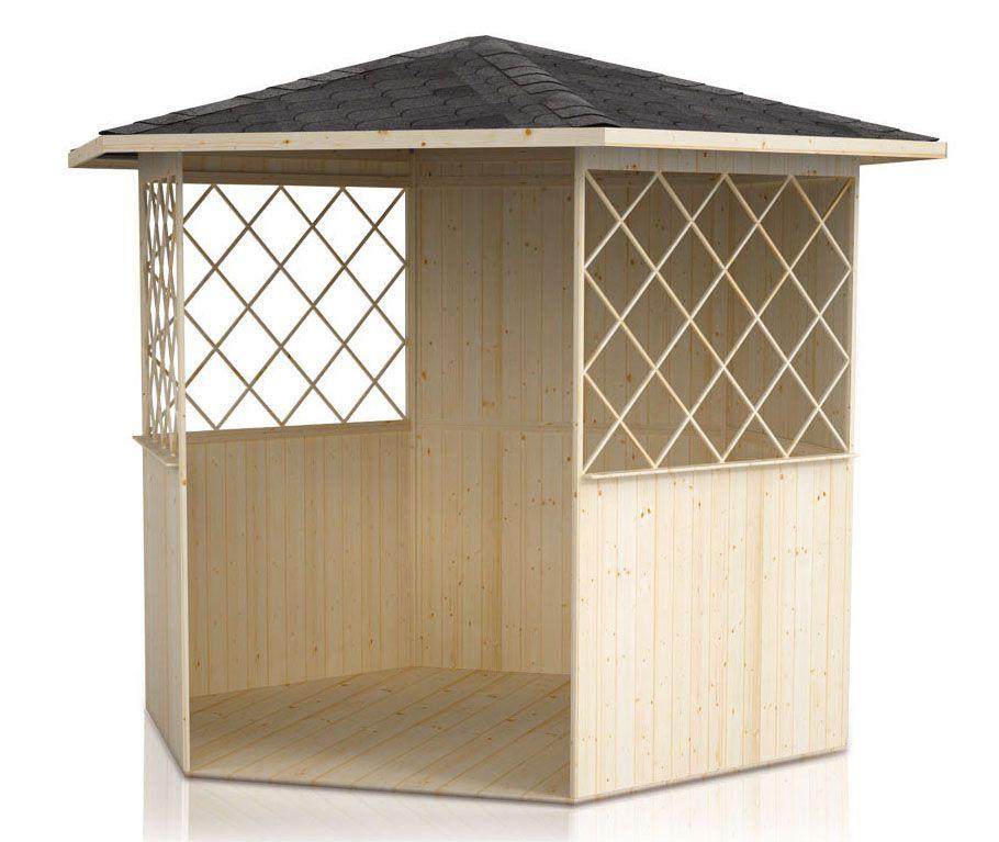 Pavillon Waldesruh - Lieferumfang: inkl. Fußboden, ohne Bänke, ohne Tisch