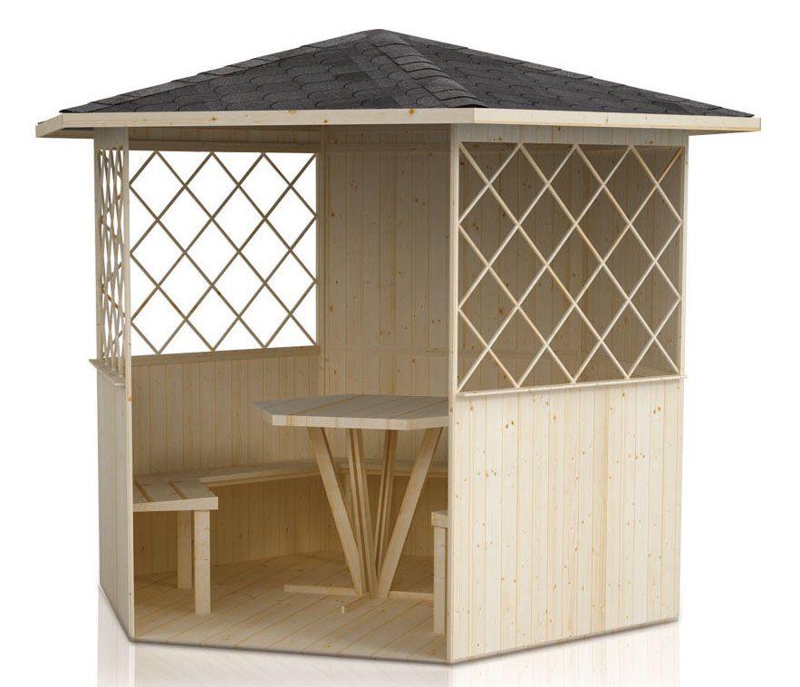 Pavillon Waldesruh - Lieferumfang: inkl. Fußboden, inkl. Bänke, inkl. Tisch