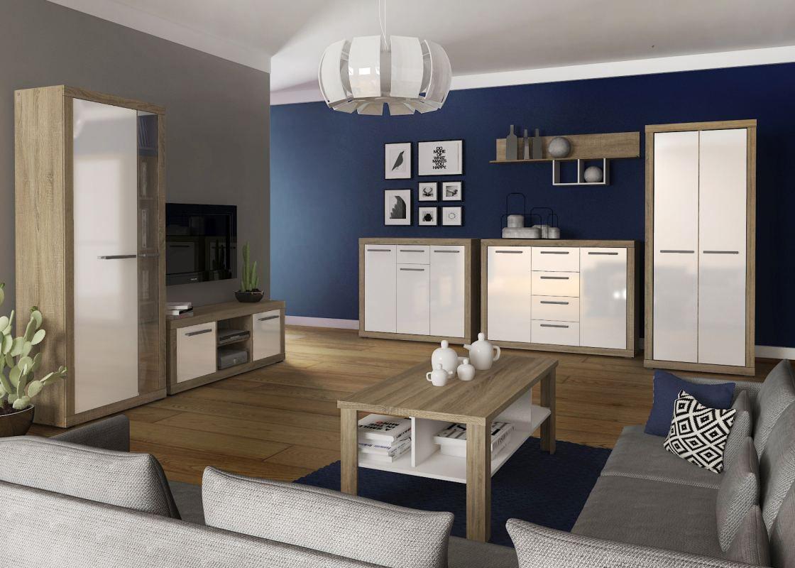 Wohnzimmer Komplett - Set B Madryn, 7-teilig, Farbe: Eiche Sonoma / Weiß Hochglanz