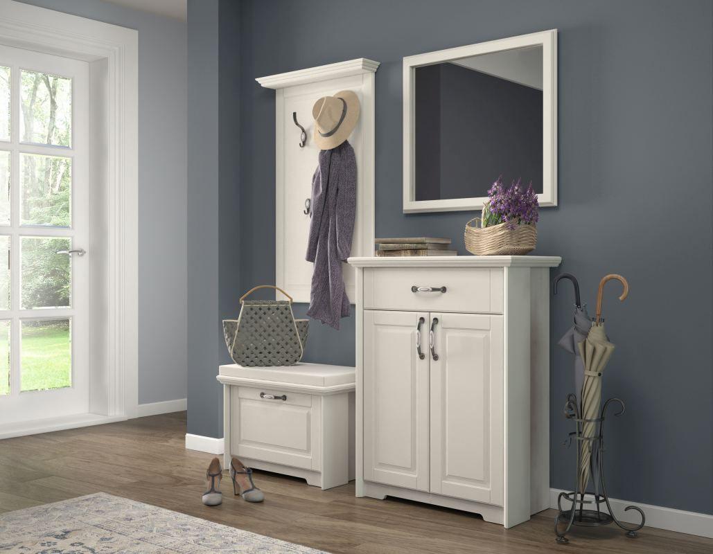 Garderobe Komplett - Set F Falefa, 4-teilig, Farbe: Elfenbein