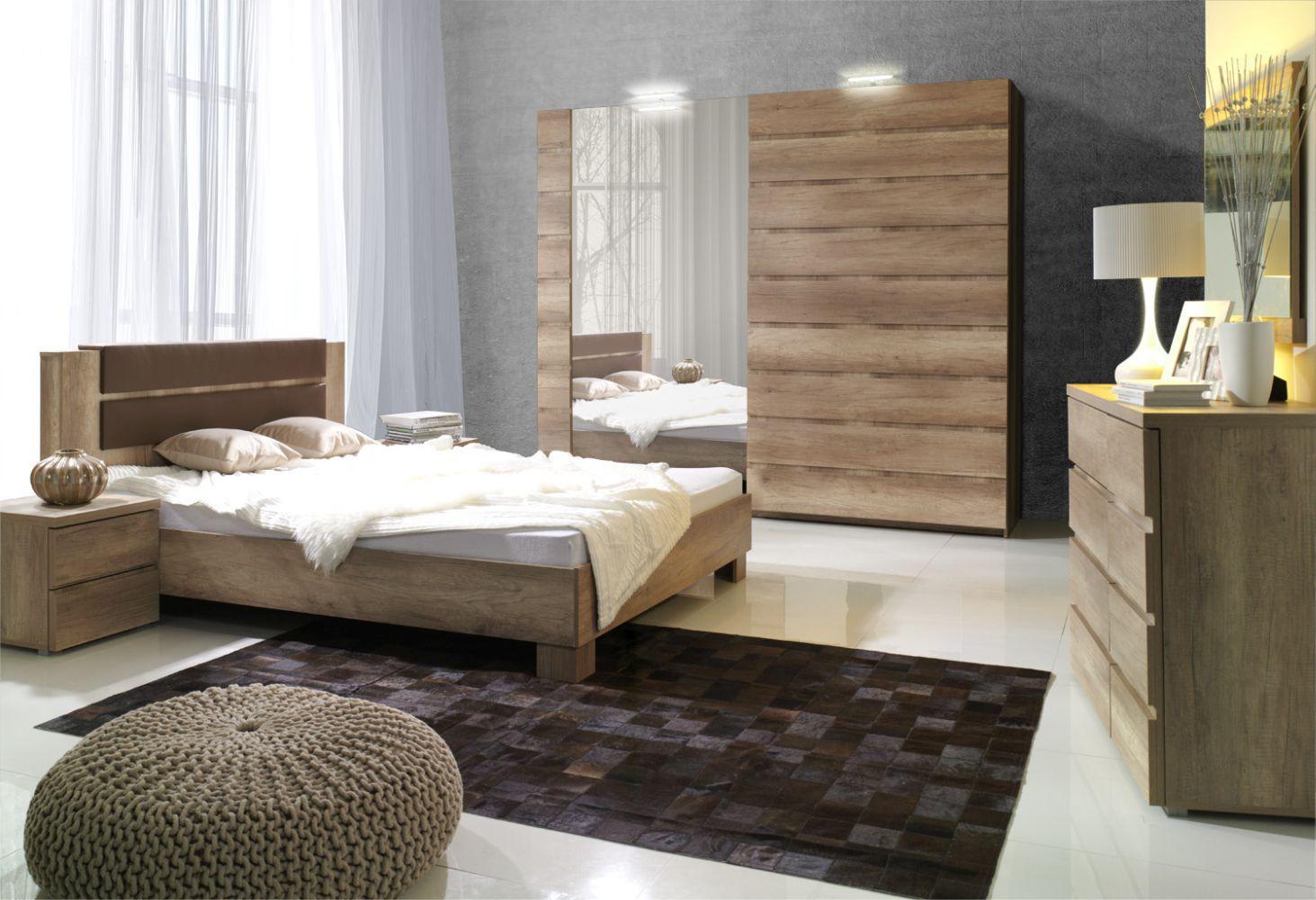 Schlafzimmer Komplett - Set E Nestorio, 6-teilig, Farbe: Eiche