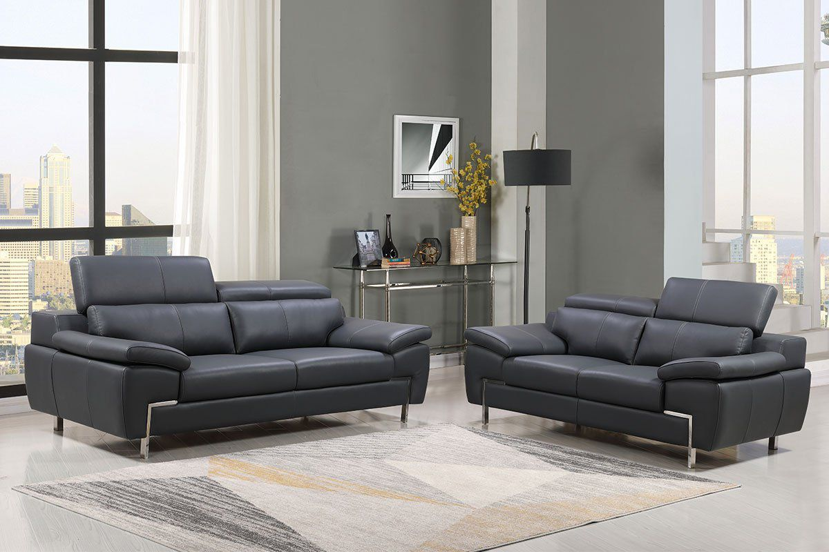 Echtleder Premium Couch Monza, Set (2- und 3-Sitz Sofa), Farbe: Dunkelgrau