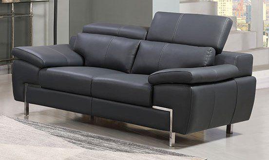 Echtleder Premium Couch Monza, 2-Sitz Sofa, Farbe: Dunkelgrau