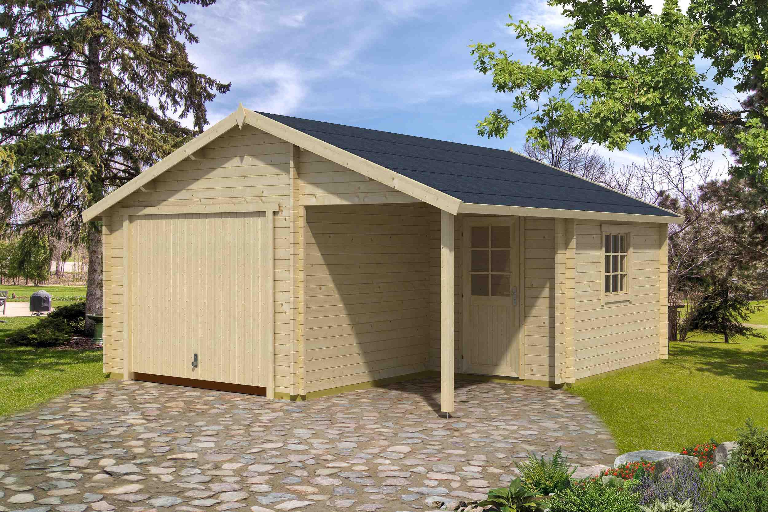 Holzgarage H162 inkl. Schwingtor - 44 mm Blockbohlenhaus, Grundfläche: 23,10 m², Satteldach