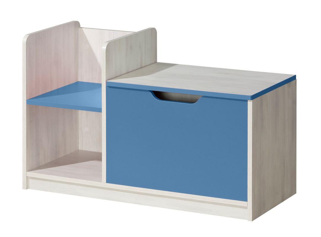 Kinderzimmer - Truhe Justus 03, Farbe: Kiefer Blau - Abmessungen: 58 x 90 x 40 cm (H x B x T)