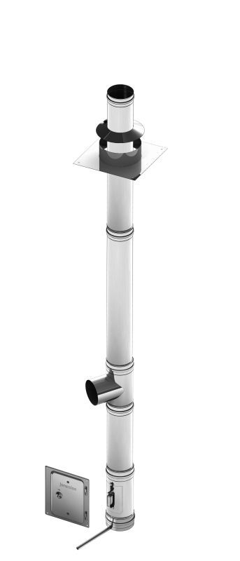 Einwandiges Schornsteinpaket aus Edelstahl mit Reinigungselement- Durchmesser: 130 mm