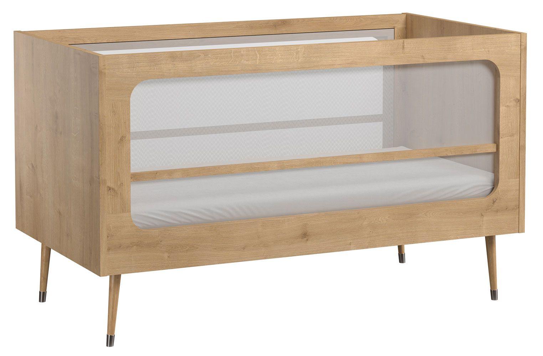 Babybett / Gitterbett Peetu 04, Farbe: Eiche - Liegefläche: 70 x 140 cm (B x L)