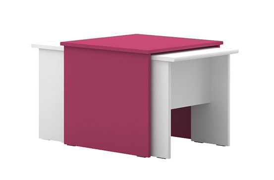 Kinderzimmer - Tisch Lena 07, 3-teilig, Farbe: Weiß / Pink - Abmessungen: 49 x 55 x 64 cm (H x B x T)