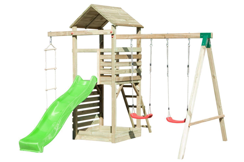 Spielturm 15 inkl. Wellenrutsche, Kletterwand, Doppelschaukel-Anbau und Strickleiter - Abmessungen: 350 x 345 cm