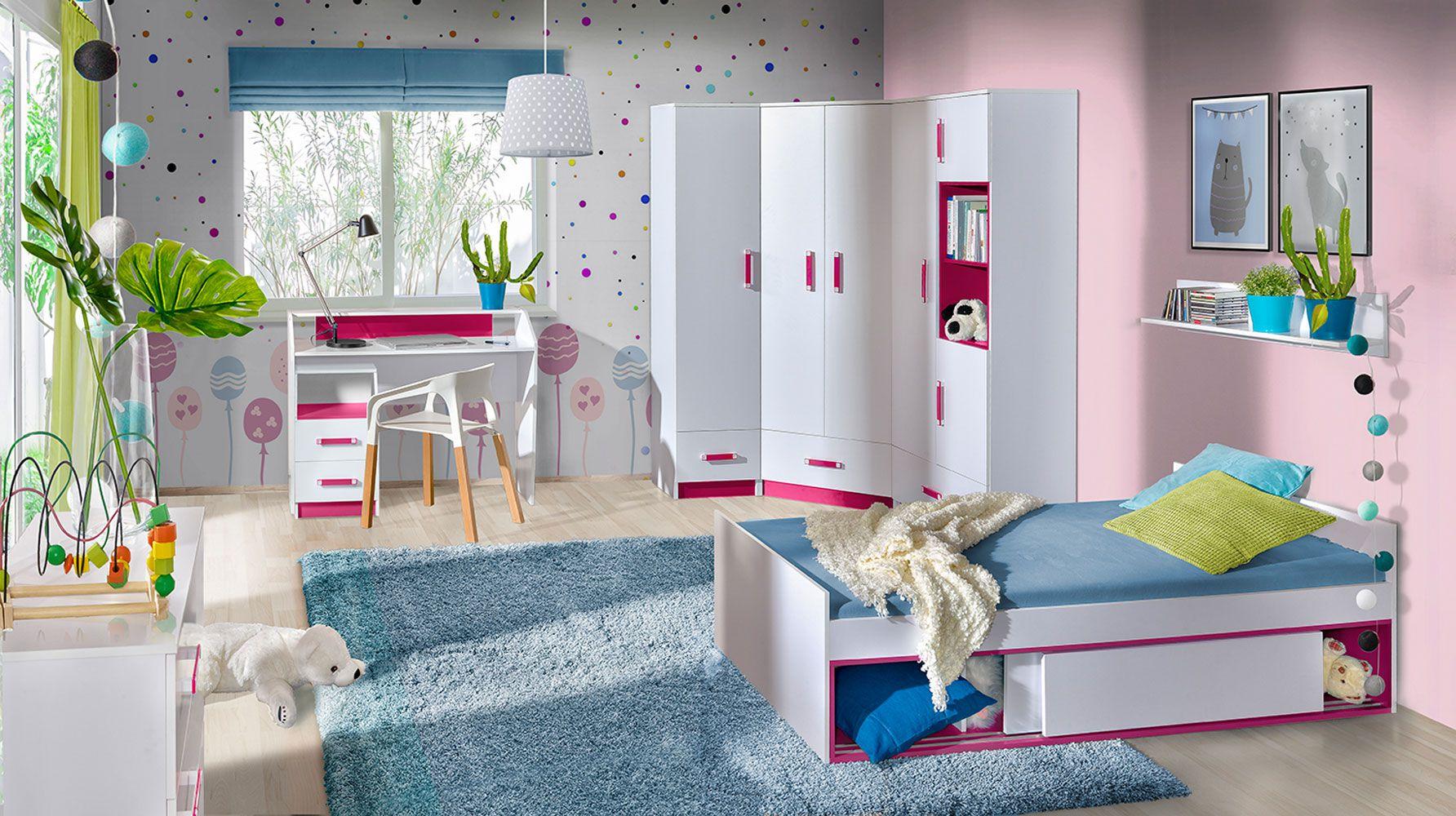 Kinderzimmer Komplett   Set B Frank, 21 teilig, Farbe Weiß / Rosa