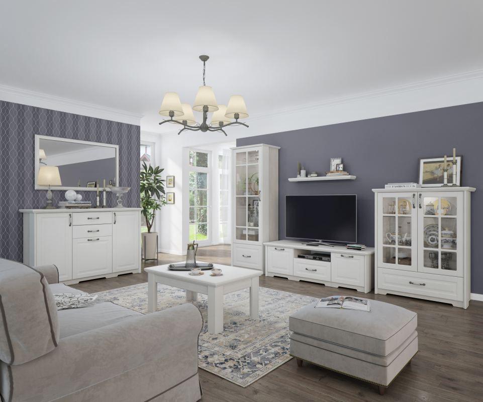 Wohnzimmer Komplett - Set C Falefa, 7-teilig, Farbe: Elfenbein