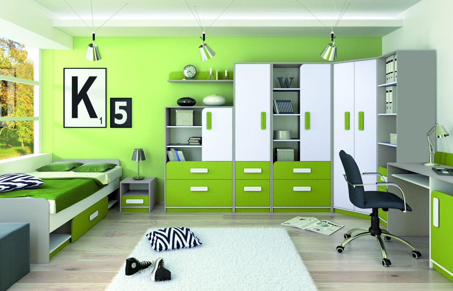 Kinderzimmer Komplett   Set J Renton, 21 teilig, Farbe Platingrau / Weiß /  Grün