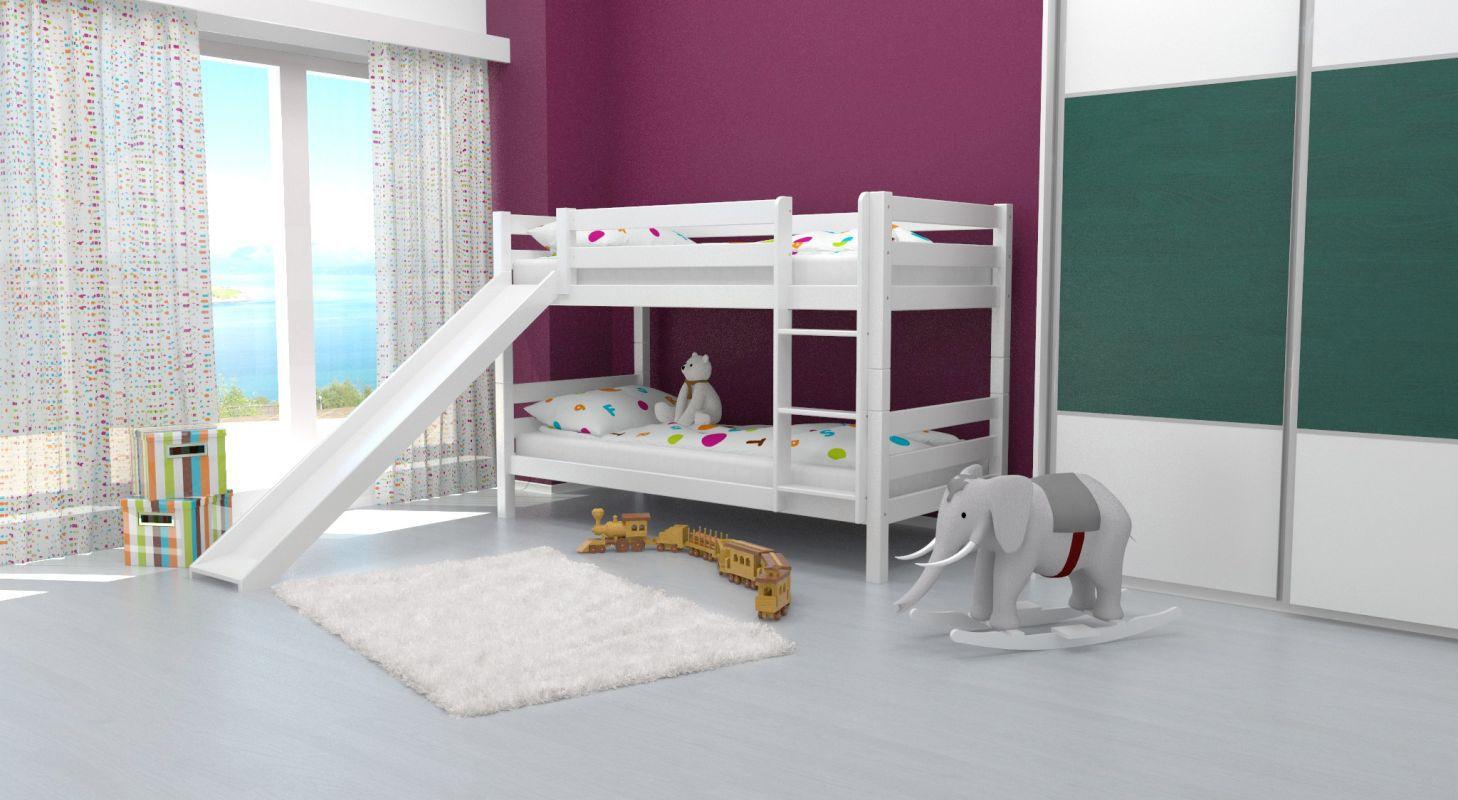 Etagenbett / Spielbett David Buche massiv weiß lackiert mit Rutsche, inkl. Rollrost - 90 x 200 cm, teilbar