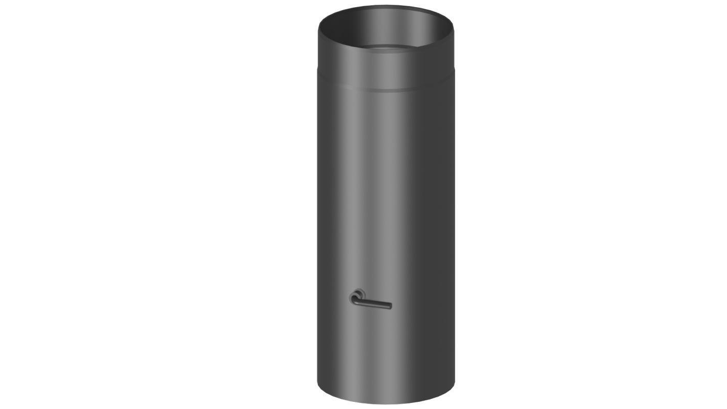 Rauchrohr mit Drosselklappe Länge 500 mm - Durchmesser: 120 mm, Farbe: Schwarz