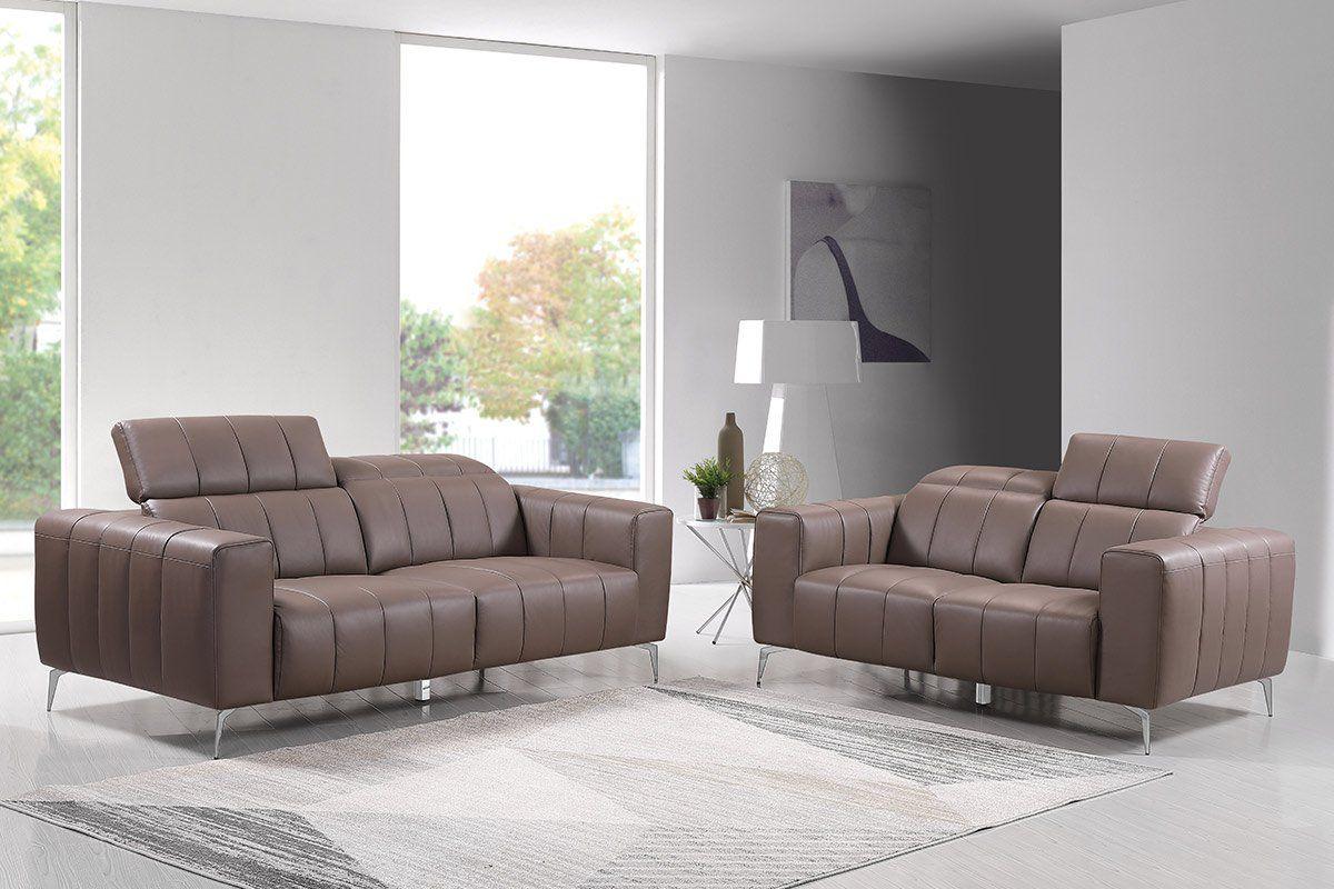 Premium Couch Roma, Set (2- und 3-Sitz Sofa), Farbe: Beige-braun