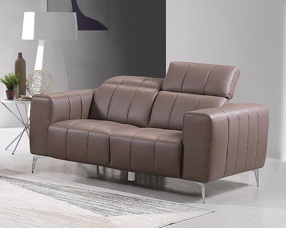 Premium Couch Roma, 2-Sitz Sofa, Farbe: Beige-braun