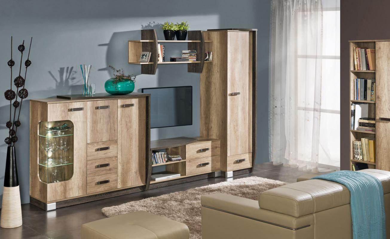 Wohnzimmer Komplett - Set E Sichling, 6-teilig, Farbe: Eiche Braun