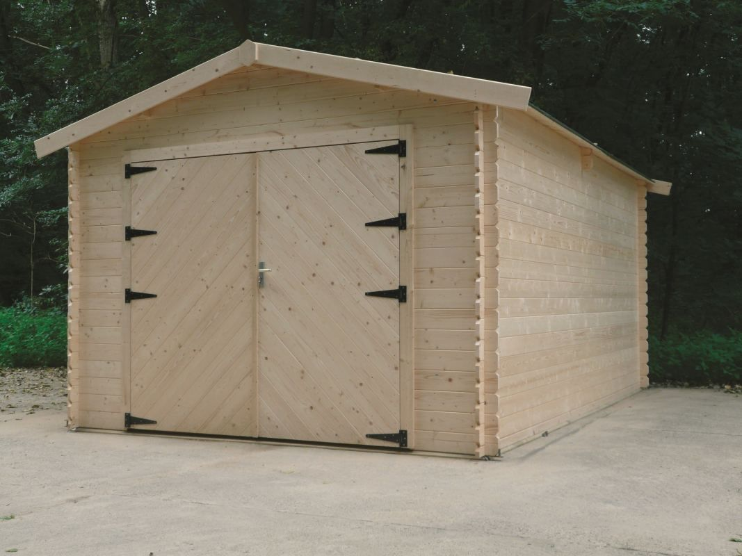 Garage Primula S8331 - 28 mm Blockbohlenhaus, Grundfläche: 18,19 m², Satteldach
