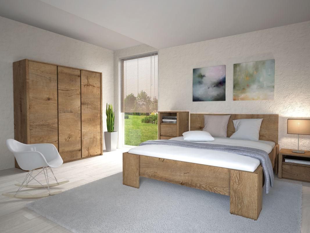 Schlafzimmer Komplett - Set A Selun, 4-teilig, Farbe: Eiche Dunkelbraun