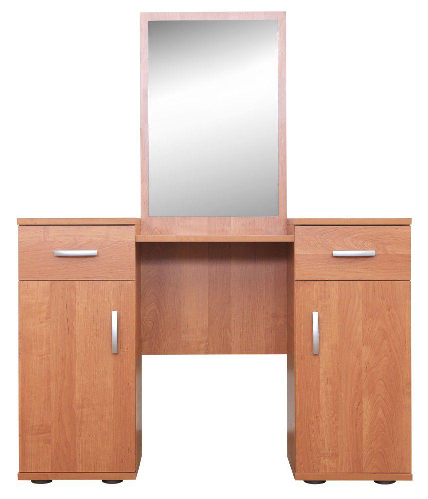 Schminktisch Grogol 25, Farbe: Erle - Abmessungen: 139 x 110 x 33 cm (H x B x T)