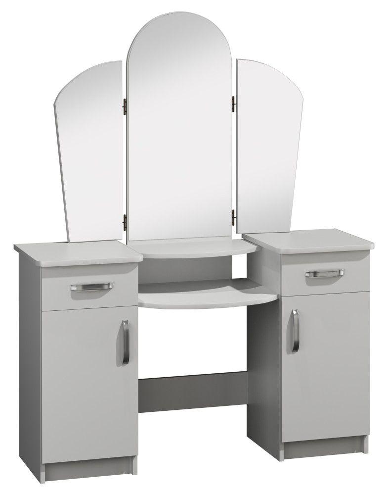Schminktisch Grogol 24, Farbe: Weiß - Abmessungen: 155 x 130 x 40 cm (H x B x T)