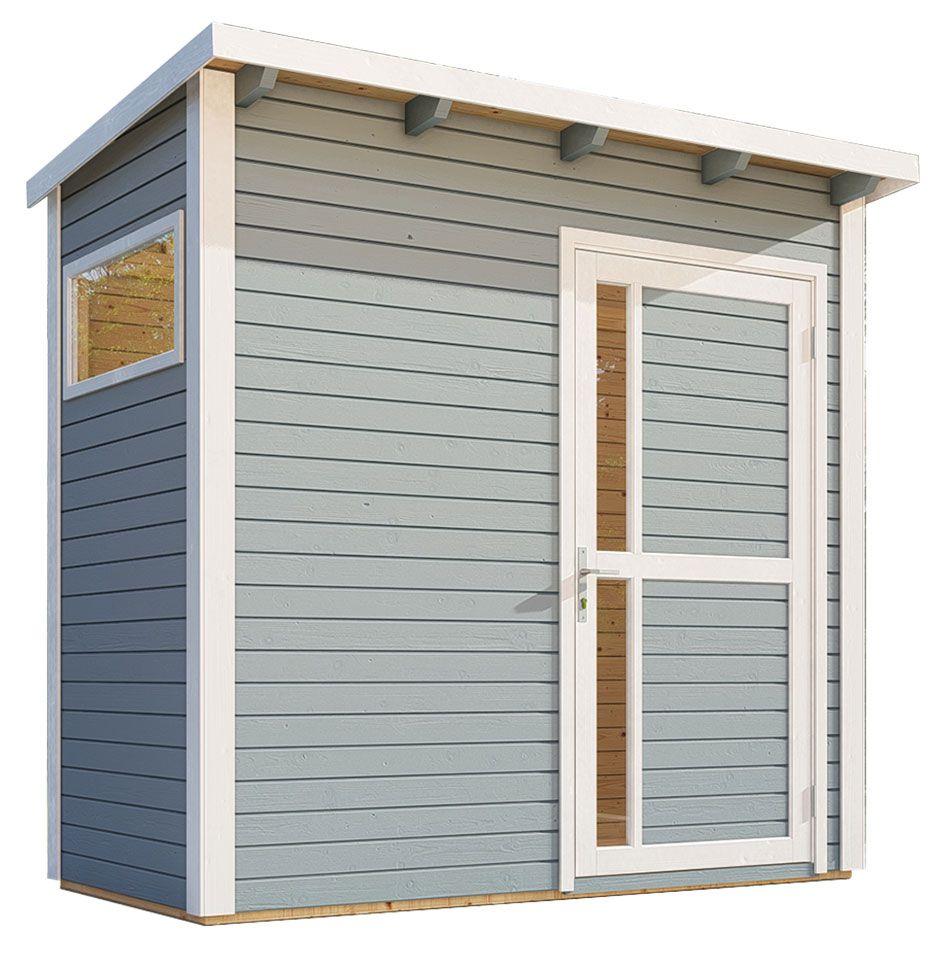 Gartenhaus Kiel 01 inkl. Fußboden und Dachpappe, Hellgrau lackiert - 19 mm Elementgartenhaus, Nutzfläche: 2,60 m², Pultdach