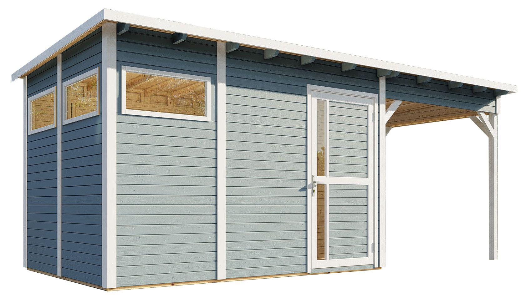 Gartenhaus Kiel 03 mit Anbaudach inkl. Fußboden und Dachpappe, Hellgrau lackiert - 19 mm Elementgartenhaus, Nutzfläche: 7,70 m², Flachdach