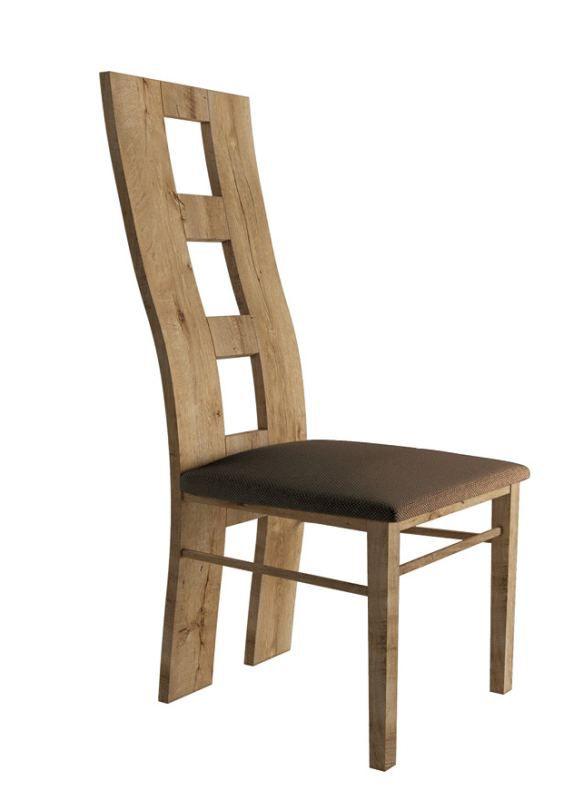 Stuhl Selun 15, Farbe: Eiche Dunkelbraun / Braune Polsterung - 97 x 43 x 40 cm (H x B x T)