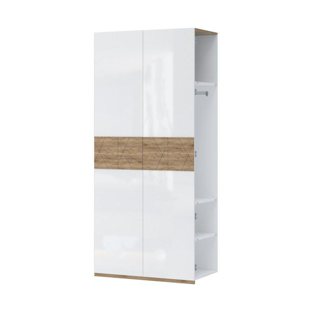 Anbaumodul für Drehtürenschrank / Kleiderschrank Manase 15, Farbe: Eiche Braun / Weiß Hochglanz - 224 x 100 x 56 cm (H x B x T)