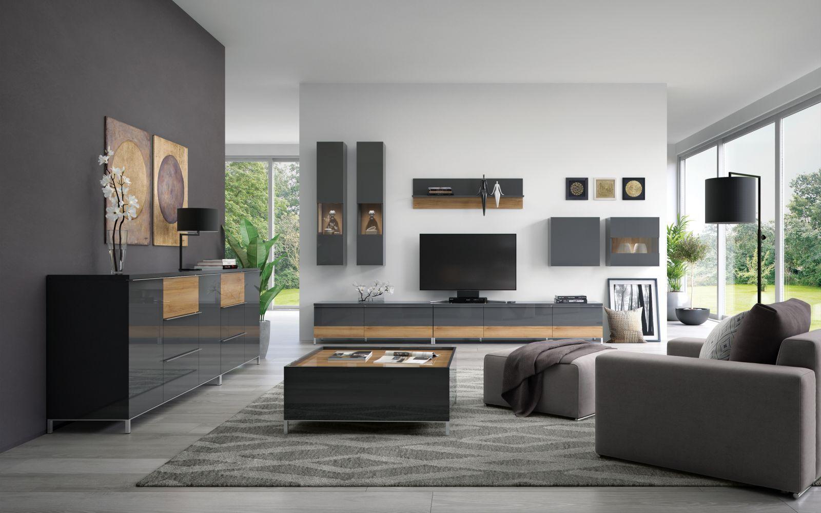 Wohnzimmer Komplett - Set F Vaitele, 10-teilig, Farbe: Anthrazit Hochglanz / Walnuss