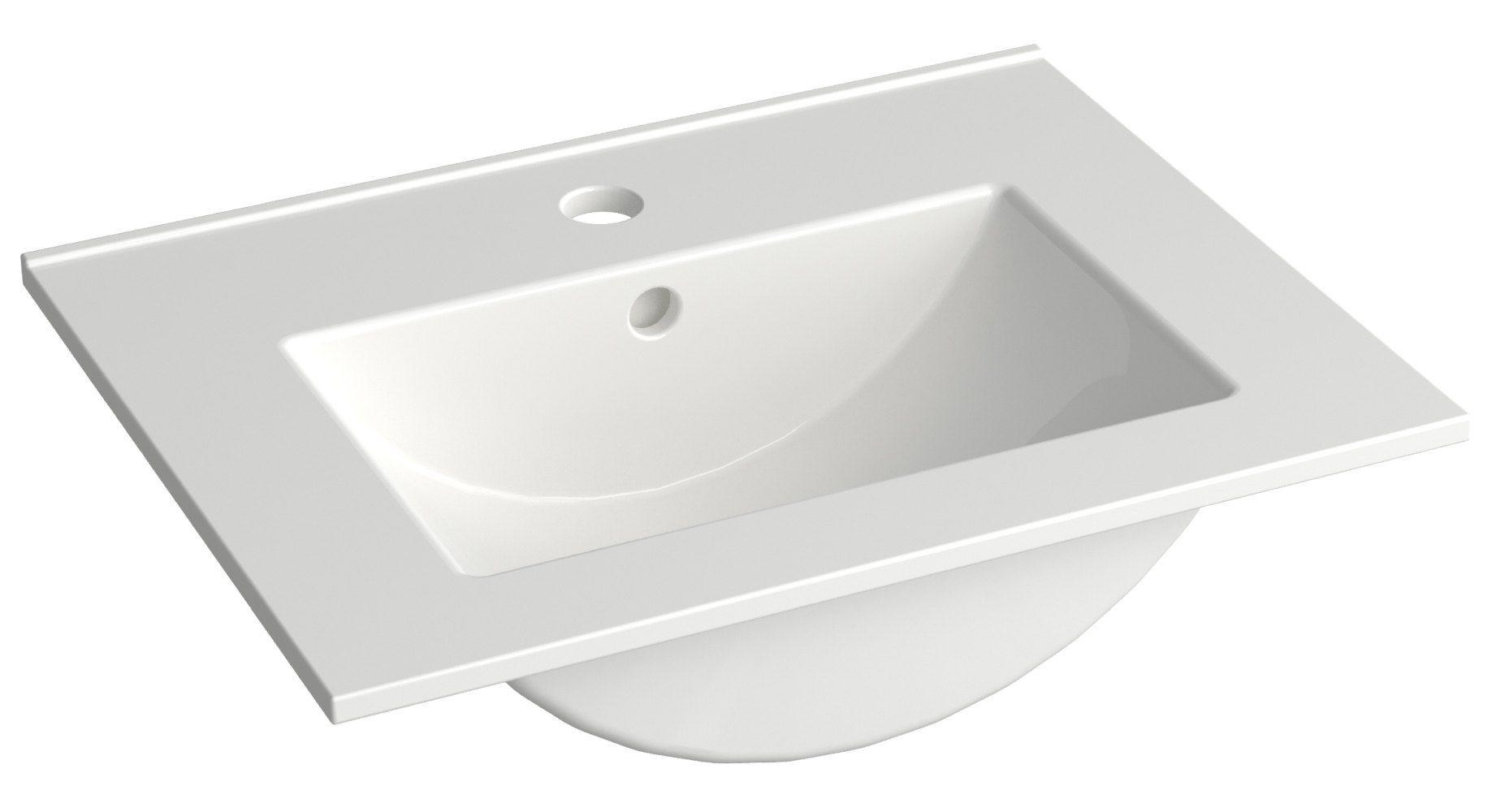 Bad - Waschbecken Bokaro 06, Farbe: Weiß – 13 x 51 x 39 cm (H x B x T)